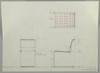 Cropped design for cantilevered metal side chair seen in plan, front, and side elevations. Spring steel base extends beyond object depth to support cantilevered seat of woven material (probably leather) and sling-style seatback in the same material. Seatback canted back and features metal railing.