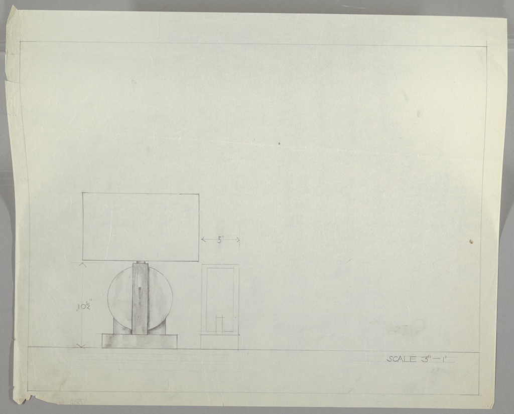Design for table lamp probably in glass and metal seen in elevation with base in profile. At lower left, elevation shows lamp base comprised of rectangular foot onto which a globe is secured by metal arms. Those on either side are abbreviated where they meet the globe, while the one seen at center appears to extend up and over the sphere. A cylindrical light bulb support is obscured by round or rectangular shade without visible finial. To the right of front elevation is drawing of base in profile confirms that central arm extends across the top of globe, bending at right angles to secure it to the base. Margins ruled in graphite.