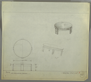 Design for low, round occasional table in Macassar ebony seen in plan, elevation, and perspective with rough perspective sketch at center. At upper right, perspective drawing shows low, round table with disc-like top and four wide rectangular legs that curve inward at top. At center left, plan shows object footprint while below, at lower left, elevation details object dimensions. At center right, a rough perspective sketch describes table of similar scale and concept however with different legs and tabletop details. Margins ruled in graphite. Inscribed with Deskey No. 8131.
