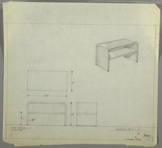 Design for end table seen in plan, front and side elevation, and perspective. At right, perspective shows rectangular table with curved sides; tabletop extends downward on either side forming support piers. These also hold one shelf of equal width as table overall. At left, plan (above) and front and side views (below) detail object dimensions. Margins ruled in graphite. Inscribed with Deskey No. 8101 (with notation indicating former Deskey No. 8093).