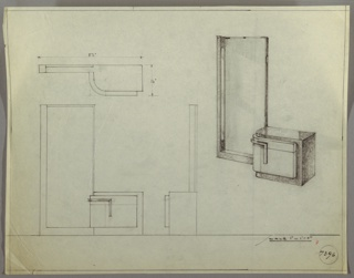 Drawing, Design for Vanity with Tall Mirror