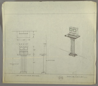 Drawing, Design for a Console Table with Electronic Equipment