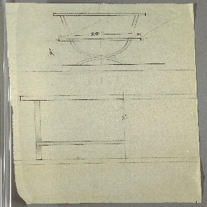 "Design for occasional table with U-shaped legs in two different heights seen in side and partial front elevations. At top, drawing shows low table measuring 19"" high with 15"" deep tabletop resting on U-shaped support positioned on inverted U-shaped base; above, a partially erased design for a taller table whose upper support is a parabola (as opposed to a U). Below, partial front elevation reveals that circular elements at joining of U-shaped supports are cylindrical bars extending object width (center line indicated by ""CL"" in graphite)."