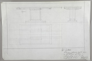 Three drawings of table with double pedestal base: upper left, view of table from the long side; upper right:  table from the short side; lower left, table in plan.  Drawing at upper left shows how the expandable leaves pull out from under the table; drawing in plan shows table without and with leaves expanded.  Double ruled border in graphite.