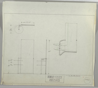 Design for vanity mirror. At right, perspective shows tall rectangular mirror set into tubular metal base; this angles forward at left and curves upward to support two glass disc shelves before curving back to mirror glass. On opposite side, additional metal mount. Also shown in plan and front and side elevations. Inscribed with Deskey No. 6261.