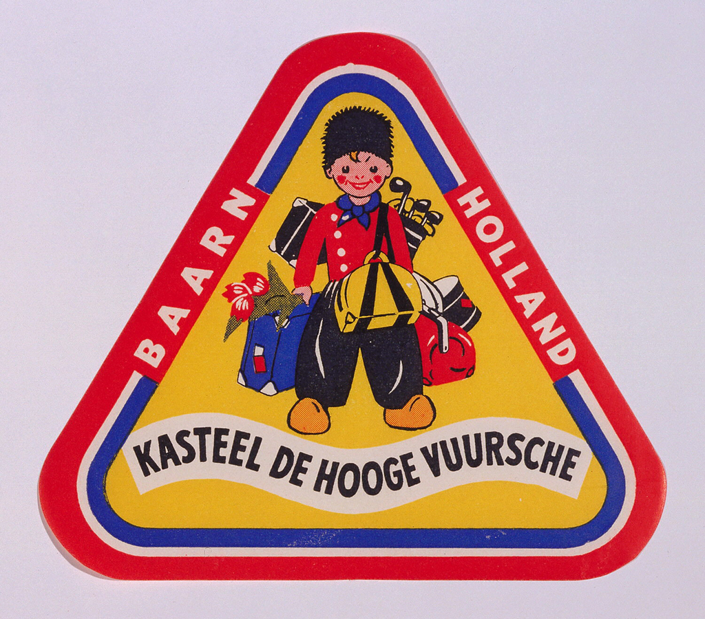 Triangular luggage label in red, white, blue, yellow, black, with a traveler in traditional Dutch costume loaded down with golf clubs, tulips and much baggage. Text, in a wavy cartouche lower margin: KASTEEL DE HOOGE VUURSCHE; left border: BAARN; right border: HOLLAND.