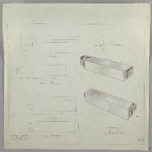 Two full-scale designs for a drawer pull; one seen in plan, elevation, side profile and perspective; the other seen in plan, elevation, and perspective. At upper left, plan indicates rectilinear volume imposed over similar but longer volume with extended and curved left edge. Below, front elevation describes asymmetric rectangular composition. At upper right, a side view provides dimensions while immediately below, a perspective view indicates pull comprised of different materials. Below, plan, front elevation, and perspective describe identical design for drawer pull without extended and curved left edge. Margins ruled in graphite. Inscribed with Deskey No. 6221.