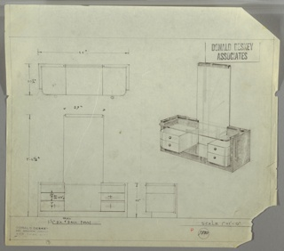 Four drawings:  upper left, cabinet in plan; center right, in perspective; lower left from front; center right, in profile.  Vanity cabinet in dark/laquor wood, resting on floor, glass top stiting in cabinet frame; two drawers in light wood/laquor with ball-shaped pulls on either side between a tall central mirror that goes to floor of cabinet (can see it through the glass top shelf); mirror has dark wood/laquor bar trim.