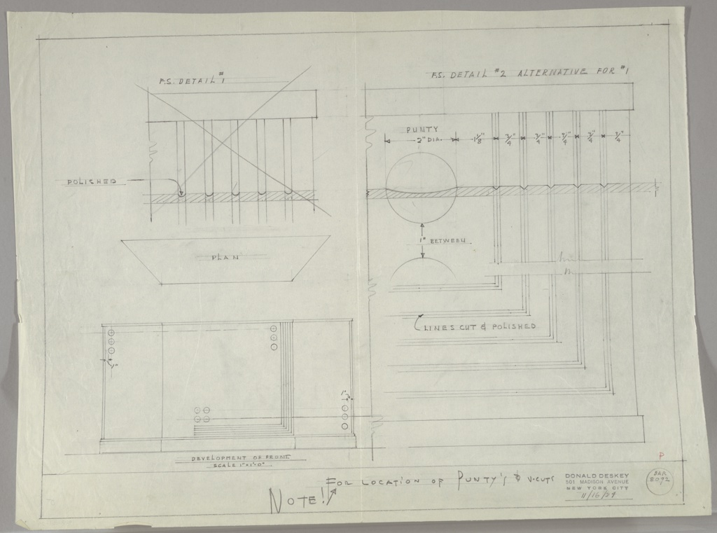 Drawing, Design for a Bar with Details