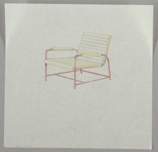 Design for a slatted armchair.  Metal frame, slatted seat and back, and armrests indicated in yellow crayon, up-side-down u-shape arms and legs with two horizontal metal tubes across two legs making chair rigid.