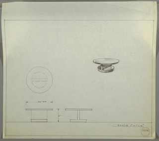 Design for low, round occasional table seen in plan, side elevations, and perspective. At center right, perspective shows circular tabletop resting on perpendicular support situated between thicker, smaller circular foot. At center left, plan describes object dimensions and depth of top and foot while below, at left and center, elevations describe composition of object elements. Margins ruled in graphite. Inscribed with Deskey No. 8292.