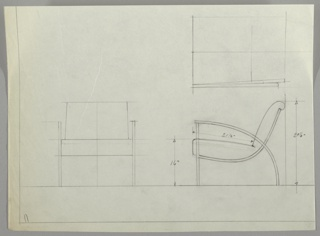 Three drawings on sheet:  lower left, chair from front, upper right, chair in plan; lower right chair in profile, including measurements.  Chair has a curving metal support for seat and back with similar curving arm and leg in one piece, front legs are separate piece of metal.  Upholstered seat and back seems to be one piece with rolled edge on top.  Ruled border in graphite on left and lower edges, leaving margin below which is empty.