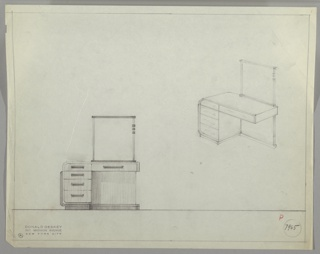 Drawing, Vanity with Rectangular Mirror, ca. 1930s