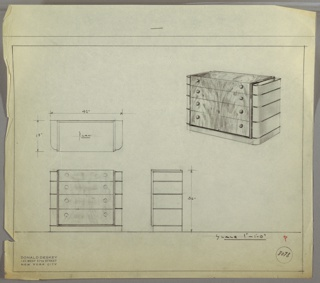 Wide three-drawer chest with two knobs, positioned left and right, per drawer