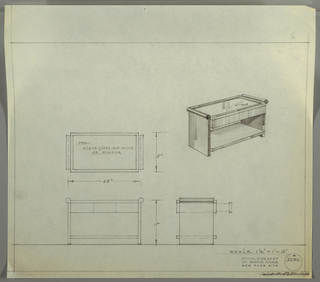 """Design for low occasional table with clear glass or mirror top, drawers, and shelf seen in plan, front and side elevations, and perspective. At center right, perspective shows rectangular table with two support piers in between which a shelf rests below and three drawers are situated above. Tabletop in either glass or mirror positioned directly above drawers and flanked on either side between rounded trip that runs object depth. At center left, plan indicates object footprint while below front and side elevations describe additional specs and placement of drawers. Margins ruled in graphite. Inscribed with Deskey No. 8282 with crossed out note in lower right margin citing """"SUITE #8251 SOFA."""