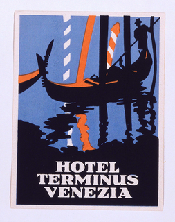 Luggage label depicting the black silhouette of a gondola in blue water with black reflections. A gondolier navigates between poles, some striped, some black. Text, white, in lower margin: HOTEL / TERMINUS / VENEZIA.