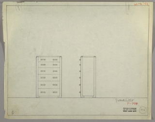 """Scale: 1""""-1'  Tall six-drawer chest; horizontal pulls left and right each drawer."""