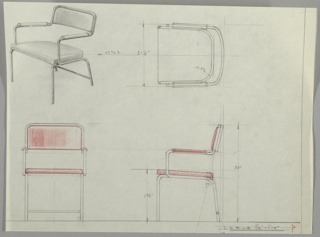 Four views of chair:  upper left, in perspective; upper right, from above; lower left, head-on; lower right, in profile. Perspective view bend metal frame on four legs with rear horizontal support, upholstered seat, back, and arms. Measurements throughout.