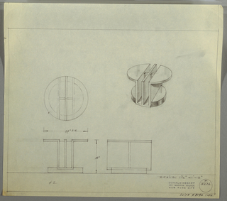"Design for low, round occasional table with vertical slots seen in plan, elevations, and perspective. At right, perspective shows occasionalbe table with circular top divided by two vertical, rectangular slots with central divider between them. Demilune table surfaces extend outward from central base that is slotted into thick disc-like foot. At center left, plan further describes the composition of object components while below, left and center, evelations describe objection dimensions and provide additional views. Margins ruled in graphite. Inscribed with Deskey No. 8236 with note in lower left margin citing ""SUITE #8140 SOFA."""