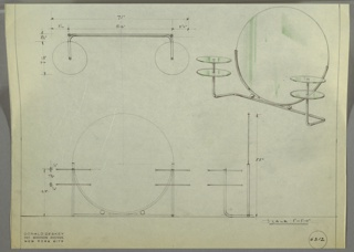 Design for vanity. At upper right, perspective shows large circular mirror with tubular metal frame running around bottom half; this rests on length of tubular metal (secured on either side of seam by two metal balls) which extend outward and either side, angle forward, and then angle upward to support two glass disc shelves. At upper left, object shown in plan; at lower left and lower right, in front and side elevations. Inscribed with Deskey No. 6312.