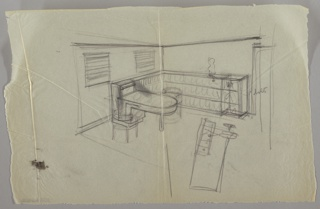 Office (?) of Lady Esther Yacht, showing desk and bookshelves. Desk on left wall is rectangular on the left side, and rounded on the right with one straight leg for support. Tubular lighting fixture attached to desk on left. Low, three-compartment bookshelves to the right of desk and on far wall. Decorative sculpture on top of shelves on far wall. Two small, square windows with horizontal blinds on left wall; door on far right wall.