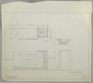 Design for sideboard for the George C. and Eleanor Hutton Rand apartment in New York, NY. Asymmetrical sideboard with white lacquer cabinet at left, three-drawer stack at center, and stepped top surface inset with rectangular reflector at right that is continuation of right side and base in Thuya wood. Drawers accessed by horizontal brushed chromium pulls; top pull extends to meet that of cabinet door. Object shown in plan and front and side elevations. Inscribed with Deskey No. 7125 RAND and reference to #8036.