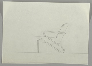 "One drawing of chair in profile.  Seat and back cushion in one piece.  Metal frame also in one continuing ""S-shape"" piece with horizotal bar support to support seat cushion, can see screw on front leg.  Margin drawn under drawing, lower edge of sheet irregular."