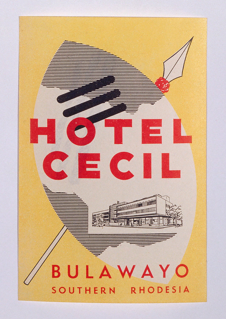 Luggage label depicting a crossed spear and shield on a yellow background. An image of the hotel, in line-drawing style, occupies the lower section of the shield. Text, in red, center: HOTEL CECIL; lower margin: BULAWAYO / SOUTHERN RHODESIA.