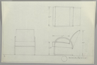 Three drawings for cantilever armchair:  upper right in plan, lower left, from front, lower right in profile.  Chair with back cushion with curving sides and attached seat.  Arms are in semi-circular shape which come down vertically becoming sleigh-type base.  Bordered on three sides with lower margin.  Measurements on right drawings.