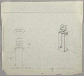 Design for console table seen in plan, front elevation, and perspective. At lower left, front elevation shows ovoid console table supported by two legs on either side that extend upward from curved base; both base and top of legs feature horizontal cut-out, streamlined elements: one below and two above. On the table rests an unidentifiable electronic device or pair of devices with two screens and two sets of buttons. Above, plan describes object's footprint with dimensions while at right, perspective shows table positioned in curved corner. Margins ruled in graphite with dimensions and scale indicated in the same. Inscribed with Deskey No. 6095 and R.C. no. 97.