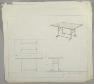 Four drawings for rectangular table:  cener left, from above; upper right, in perspective; lower left, from front; lower right, in profile.  Table with wood or plastic laminate surface, in-set wood or metal legs with two cross braces and four curving feet. Measurements on two left-hand drawings.