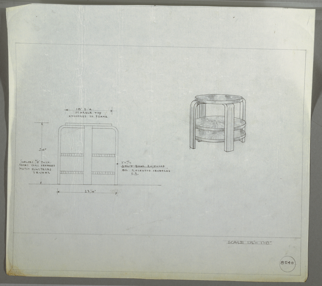 Design for round end table in Brazilian rosewood or rosewood veneer with marble top and two shelves seen in elevation and perspective. At right, perspective shows round marble tabletop atop crossed bentwood strips forming four legs. Two shelves with veneered edges positioned at first- and second-thirds of object height. Margins ruled in graphite. Inscribed with Deskey No. 8540.