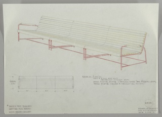 Two drawings:  above, settee in perspective; below left settee from above.  Settee with baked enamel frame indicated in red crayon, and natural wood horizontal slats for continuous seat and back, arms with one semicircular piece of wood.  Small sketch below from above with measurements. Material instructions, center right.