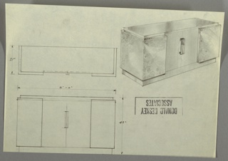 Three drawings:  upper left, cabinet from above; upper right, in perspective; lower left, from front.