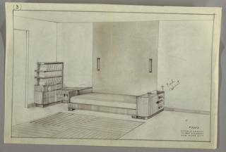Drawing, Room Interior with Bed, ca. 1930s