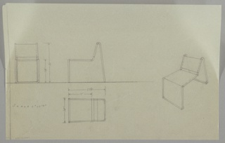 Four drawings for chair:  at left edge from front, center left, in profile; lower left, in plan; at right, in perspective.  Very sketchy, sling-back chair with tubular metal frame with u-shape legs in front that move upward to form frame of seat which then slant back to support back and curve down behind to create u-shaped back legs.  Measurements on two left drawings. Ruled border on left side only.