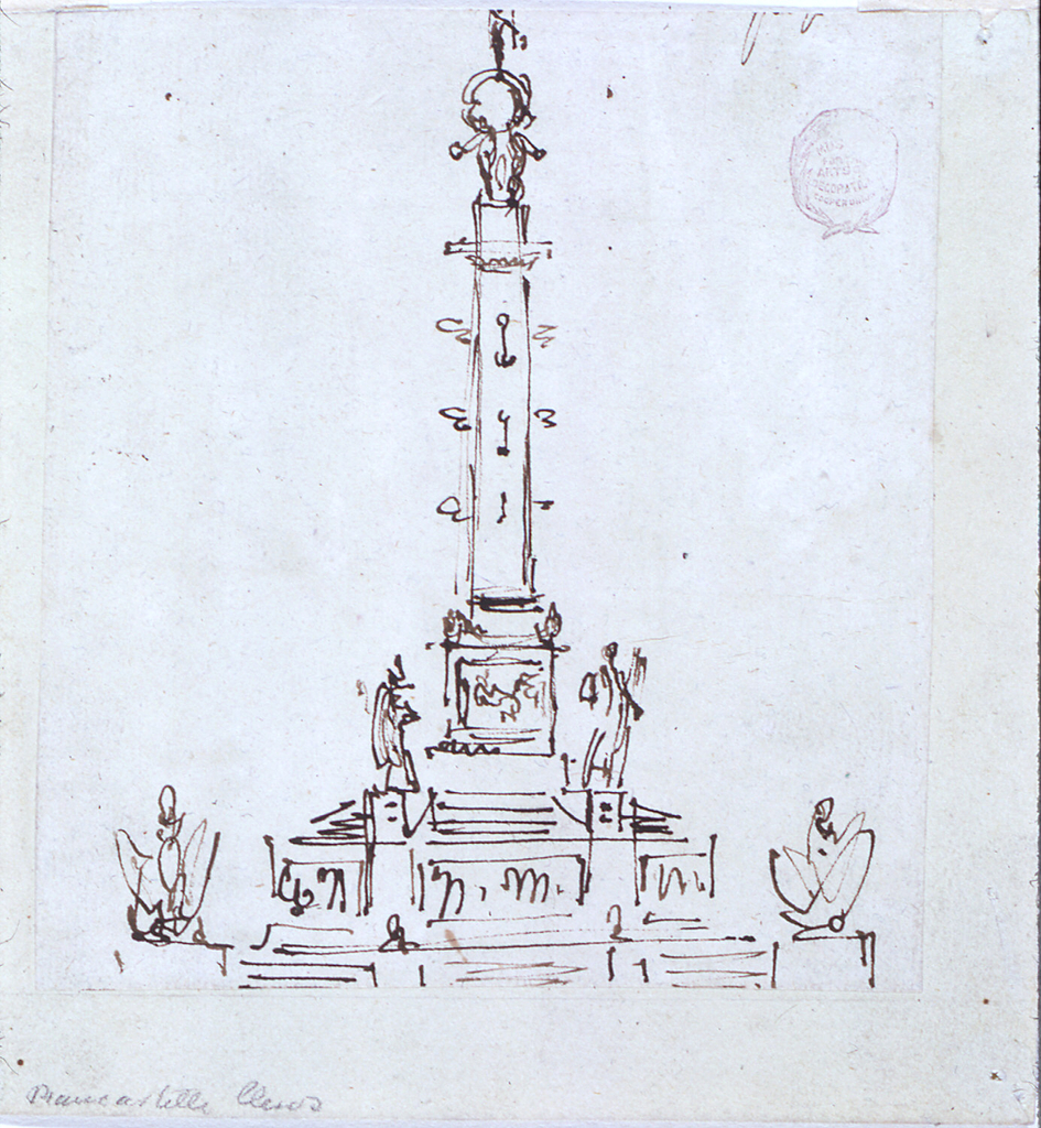 Vertical rectangle. A monumental column rises upon a huge base consisting of two sections of steps which are separated by a section showing reliefs between pedestals for two statues. The column is decorated with prows and anchors. On top stands a figure upon a globe, which is supported by Atlantes. Two panoplies flank the lower section of steps.