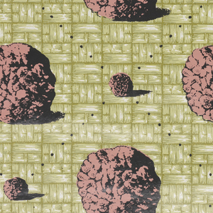 Small meatballs are joined by small black dots forming a diamond trellis pattern.  Enclosed within is a large meatball.  Printed in pink and black on a green basketweave background. This design was printed on a found ground.