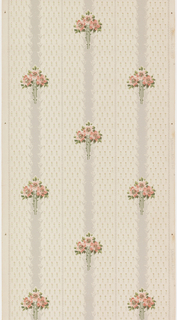 Floral stripe, floral bouquet with pink flowers on gray stripe. Background fill of small floral motif. Printed on white ground.