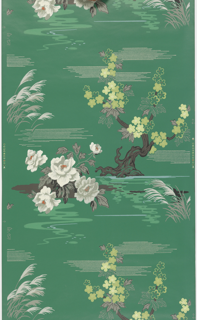 """""""Swamp flowers and stylized Nipponese tree.""""  Printed in taupe, red, white, and lime green on a dark green ground."""