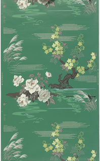 """Swamp flowers and stylized Nipponese tree.""  Printed in taupe, red, white, and lime green on a dark green ground."