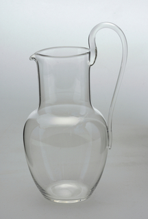 "Thinnest mouth-blown crystal (""Muslin glass"") water pitcher."