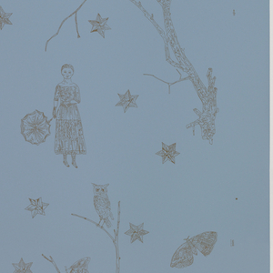 A lone female figure stands beneath a tree bough, surrounded by a star-filled sky. This scene alternates with one very similar where the woman is holding a parasol. Creatures of the night, including moths and owls, are seen perched in the tree and in flight. Printed in dark sepia on a medium blue ground.