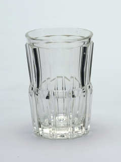 Mouth-blown crystal beer tumbler, faceted and relief-prismatic-cut and polished.
