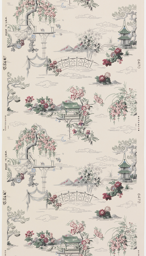 Garden vignettes with a bridge, weeping floral tree and pagoda printed on tan ground. Pattern number 6470.