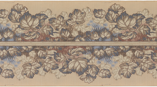 Die-cut foliage border printed two across. Foliage resembling grape leaves printed in muted colors, overprinted with a strie pattern.