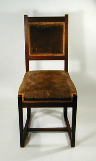 Side chair with slightly angled back and rectangular seat; both upholstered in tan fabric; straight legs with stretchers at ground level. Decorated at legs and back frame: rosewood and ebony inlay.