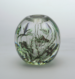Double-thick clear glass vase, oval shape with underwater scene in tones of dark to light green, showing fish swimming among acquatic plants.