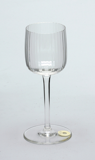Mouth-blown, pre-molded crystal wine glass.