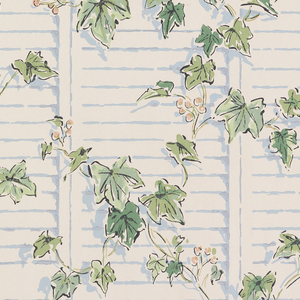 Ivy with pink berries growing up shutters or clapboard, printed on off-white ground.